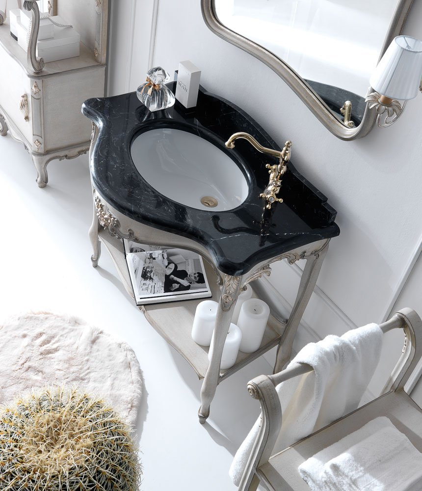 bathroom furniture | mirror and console with marquinia black marble top