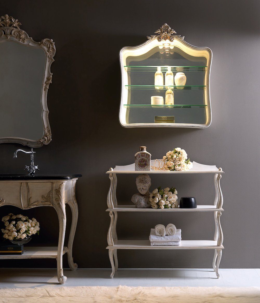 bathroom furniture on line | etagere and glass cabinet with door and spotlight