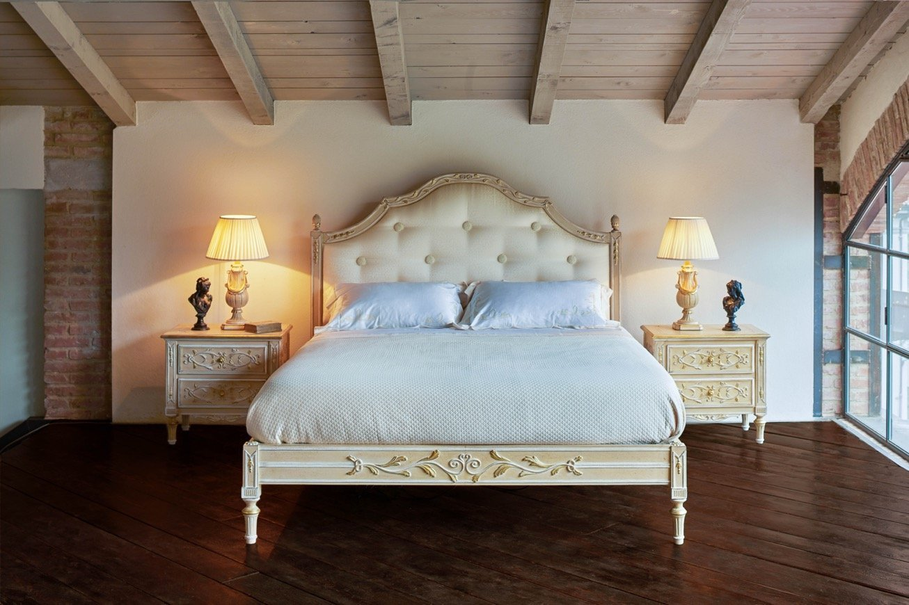 classic bedroom with wooden beams