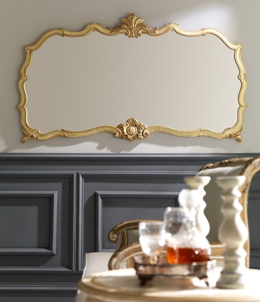 classic mirror with antique Mecca and cream color finishes