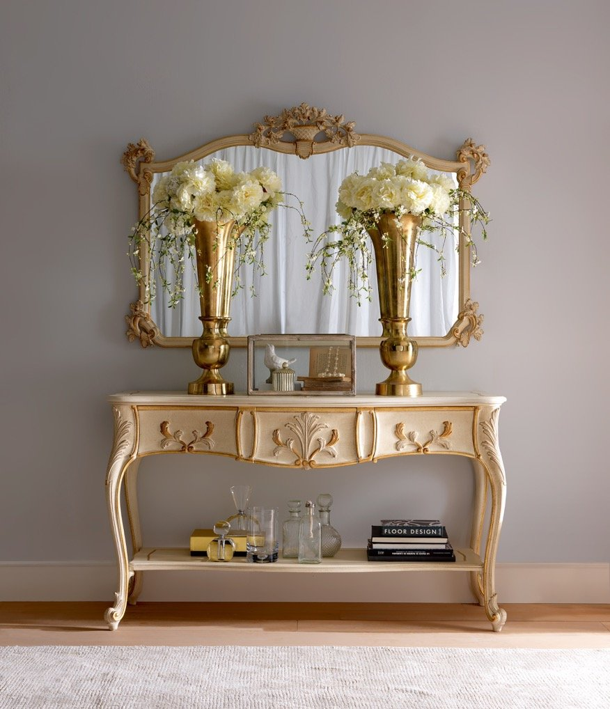 console 3 drawers with mirror | elegant living room