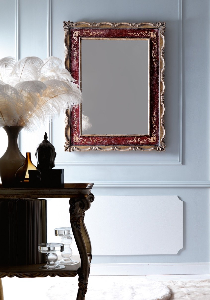 elegant classic mirror | antique polychrome and silver with relief decorations