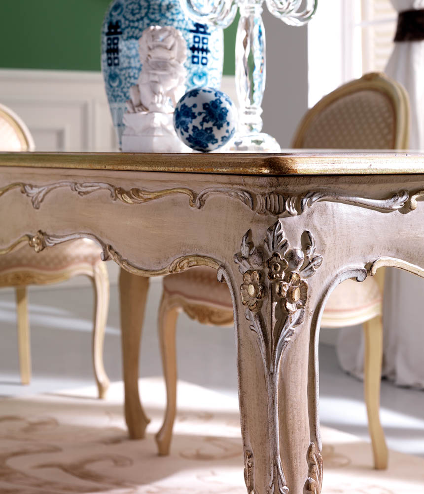 elegant wood dining table detail