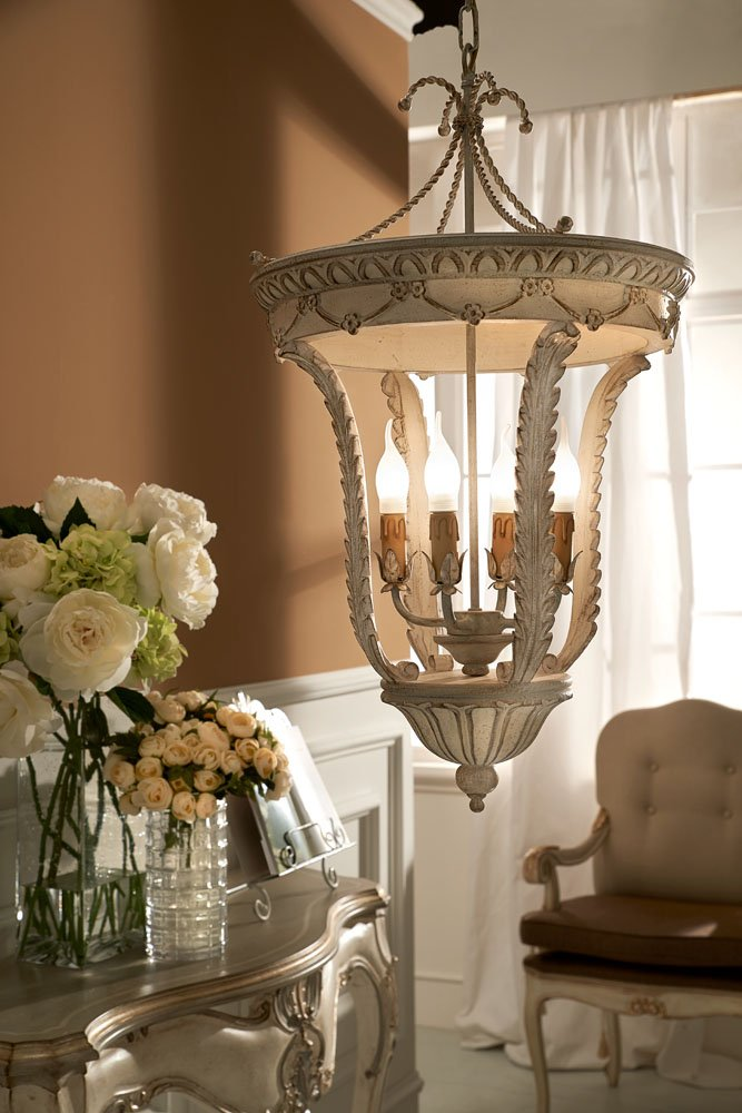 precious 4 lights lantern with antique white and silver finish