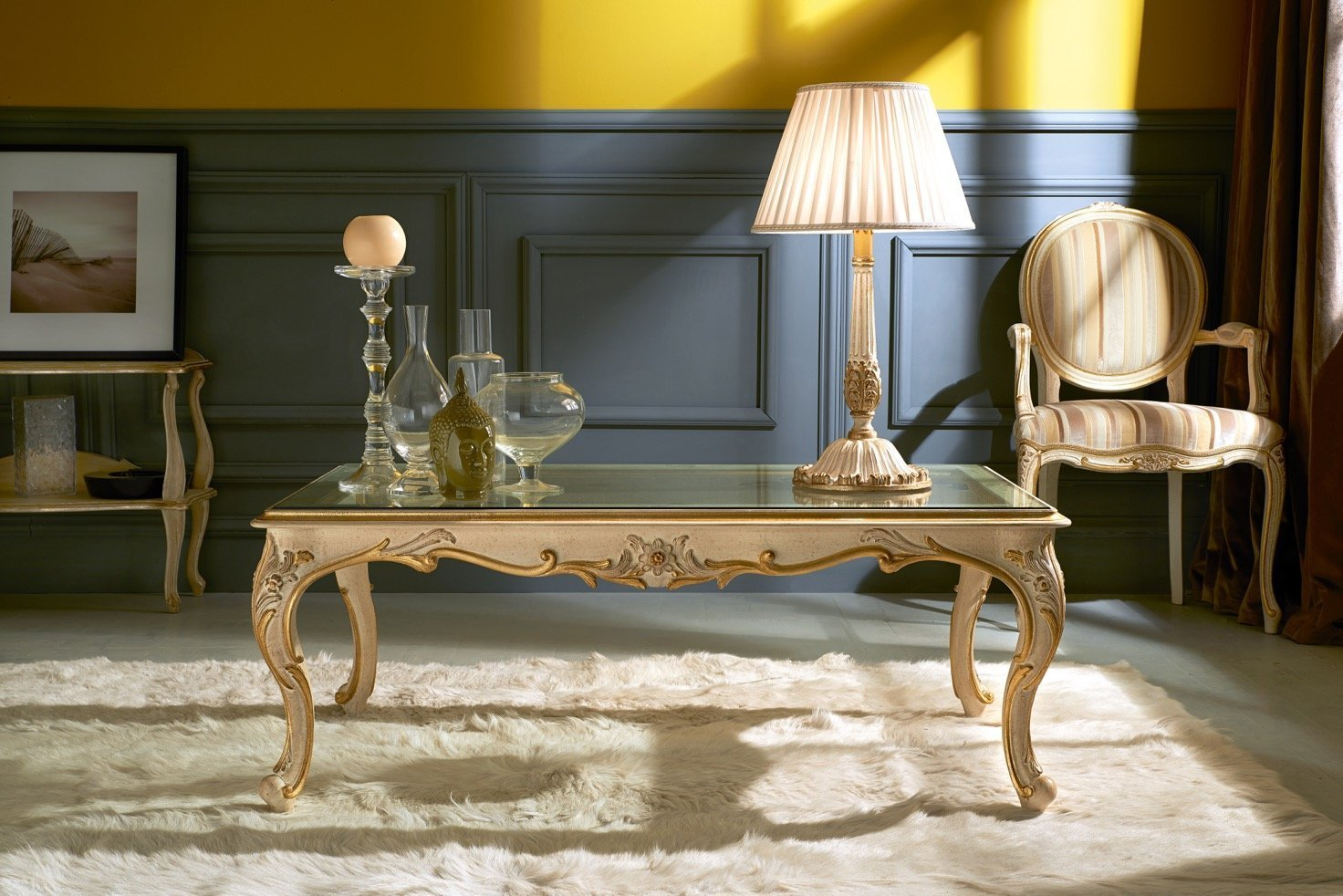 solid wood and glass coffee table | classic style table lamp | fabric armchair italian category 1 | beige colours